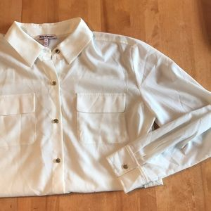 Ivory Juicy Couture Button Down W/ Gold Details